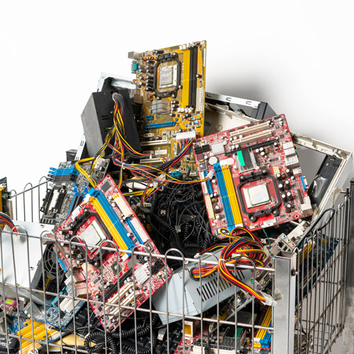 Computer parts and electronic waste ready to recycle