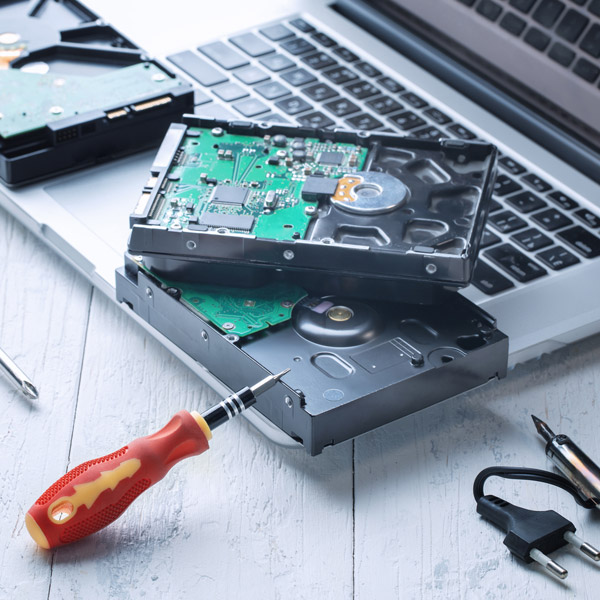 Hard drive recycling by dismantling each component