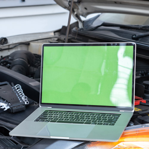 Laptop for recycling with green screen
